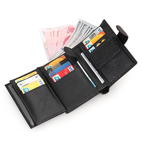 Mens Trifold Wallet Leather RFID Blocking Card Holder Coin Pocket 3 ID Windows