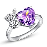925 Sterling Silver CZ Purple Heart Crystal Butterfly Promise Engagement Band Ring