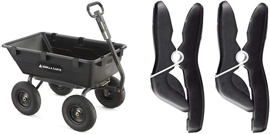Gorilla Carts Heavy-Duty Poly Yard Dump Cart | 2-in-1 Convertible Handle, 1200 lbs Capacity | GOR6PS Model & Worx WA0235 Aerocart 2-Pack Universal Wheelbarrow Tool Holder
