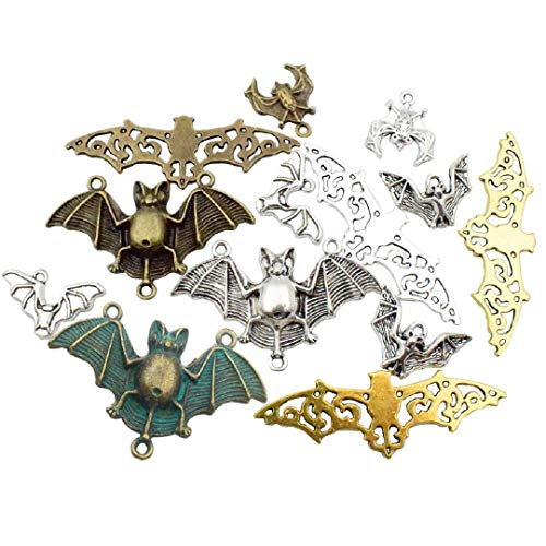 100g (about 30pcs) Craft Supplies Halloween Bat Charms Pendants for Crafting, Jewelry Findings Making Accessory For DIY Necklace Bracelet M32 (Bat Charms) -
