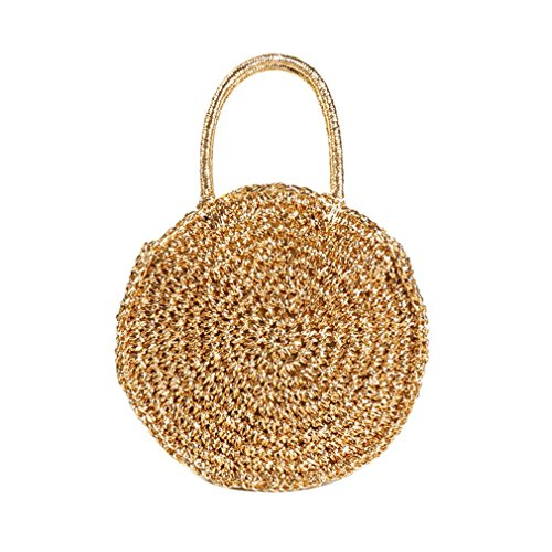 Straw Bags Circle Rattan Bag Women Straw Beach Tote Handbags Round Crochet Bag Handmade Cross Body Bags Gold ()