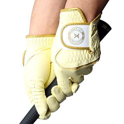Xspiders DryGRIP-women Golf Gloves Pair Yellow Choose-size Sweats Rain Wet Humid conditions WASHABLE (S20 (M))