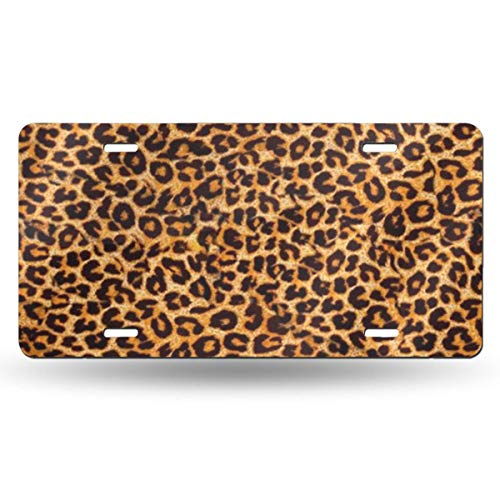 WGCXX Leopard Print Customized Personalized Metal License Plate, License Plate Metal Signage Car Decoration 6 Inches X 12 Inches,Customizable Signature ()
