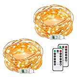 Chalpr USB Fairy String Lights, 2 Pack 50 LED 16.4Ft Led String Lights, Warm White Firefly USB Plug in Starry Lights with Remote, Waterproof Copper Wire Decorative Fairy Lights for Home