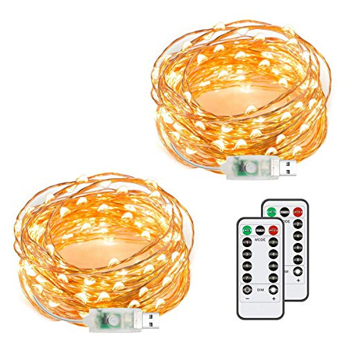 Chalpr USB Fairy String Lights, 2 Pack 50 LED 16.4Ft Led String Lights, Warm White Firefly USB Plug in Starry Lights with Remote, Waterproof Copper Wire Decorative Fairy Lights for - Strand 15'