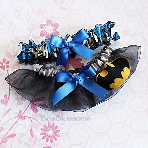 Customizable handmade - Batman fabric on black sheer organza keepsake bridal garters wedding garter set by BOYX Designs