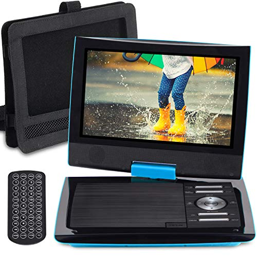 SUNPIN 11″ Portable DVD Player with 9.5 inch HD Swivel Screen, Dual Earphone Jack, Supports SD Card/USB/CD/DVD and Multiple Disc Formats, Headrest Mount Holder, Car Charger, Power Adaptor (Blue)
