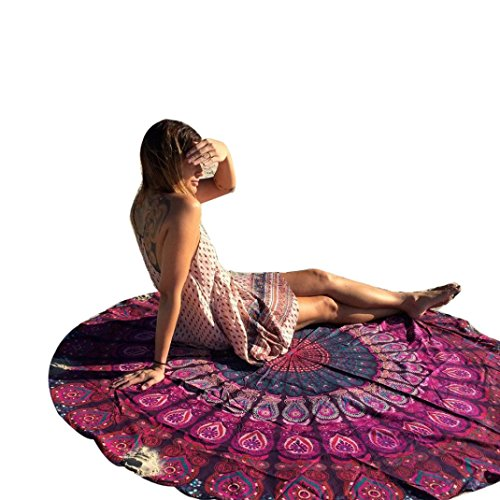 Usstore Round Hippie Tapestry Beach Throw Pool Home Beach Cover Up Bikini Boho Dress Swimwear Bathing Suit Kimono Tunic Round Yoga Mat Tassel Fringing (A)