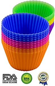 Silicone Baking Cups - 24 Pack Cupcake Liners - BPA Free & FDA Approved Durable Baking Molds - Eco Friendly Non Stick Cookware - Perfect Muffin Cups - No More Paper Liners! - Fresh Vibrant Colors - Best Silicone Bakeware With Lifetime Guarantee