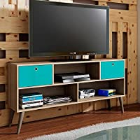 Manhattan Comfort Uppsala 53 TV Stand in Oak Aqua Gray