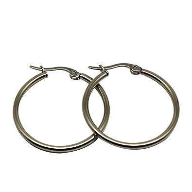 9e098433ad25 Pendientes de aros redondos de la moda para las muchachas de las mujeres  Elegantes de la joyería plateados cuelgan los pendientes-Steel Color-1cm   ...
