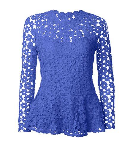Manches Blouse Col Chemisiers t Tops Casual Unie Tees Shirts Femmes Royal Longues Fashion Rond Hauts Bleu T Dentelle Couleur x07Fpxf