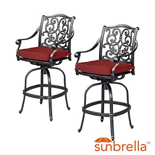 Villa Flora 2 Piece Cast Aluminum Patio Swivel Bar Stool Set W/ Sunbrella Canvas Henna Cushions By Lakeview Outdoor Designs (Bar Swivel Canvas Cushion Stool)