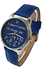 ZIZ Blue It Doesnt Matter, Im Always Late Watch, Unisex Wrist Watch, Quartz Analog Watch with Leather Band
