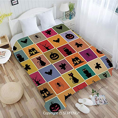 FashSam Luxury Bed Blanket Bats Cats Owls Haunted Houses in Squraes Halloween Themed Darwing Art Decorative(W49.2xL78.7 inch) Air Conditioning Comfort Warmth for Bedroom/Living Room/Camping etc -