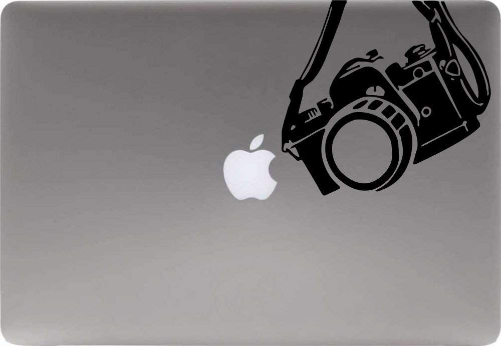 Digital Camera Hanging Vinyl Decal Sticker for Computer MacBook Laptop Ipad Electronics Home Window Custom Walls Cars Trucks Motorcycle Automobile and More (Black)