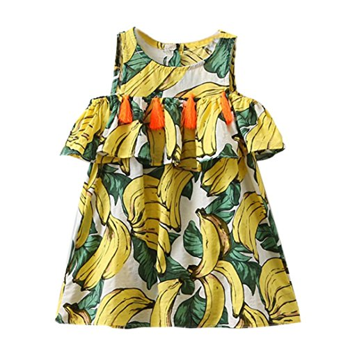 (Allywit Toddler Kids Baby Girls Banana Tassel Princess Dress Sundress Outfits Clothes (6T, Multicolor))