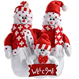 WeRChristmas Snowman Family Christmas Decoration, 28 Cm - Red/White