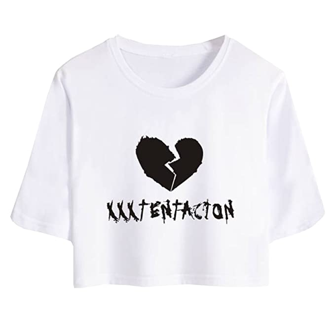 Herqw61 Damen Mädchen Rapper Xxxtentacion T-Shirt Crop Top Kurzarm Hip Pop  Sommer Oberteile(XL Weiß-Gebrochenes Herz)  Amazon.de  Bekleidung 8a06ce91b5
