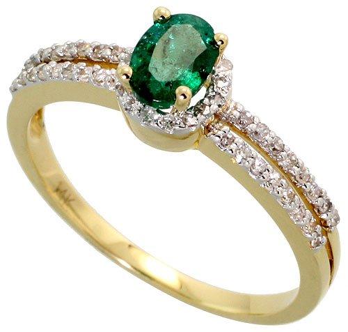 14k Gold Ring, w/ 0.67 Total Carat Brilliant Cut Diamonds & Oval Cut 6x4mm Emerald Stone, 1/4 in. (6mm) wide, size 6.5 (Cut Stone Band Diamond Emerald)