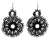 NOVICA Crochet Cotton Dangle Earrings with .925 Sterling Silver Hooks 'Black Flower Blossom'
