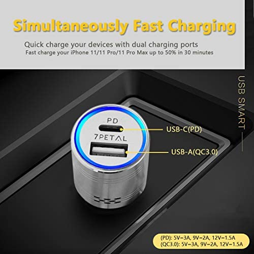 USB C Power Delivery Car Charger with Carbon Monoxide Detector 7PETAL 304 Stainless Steel 2 Port Fast Charger with PD 3.0 /& Quick Charge 3.0 Compatible with iPhone Samsung Google Pixel etc.