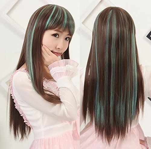 Shipp wig Qi can be oblique fre long straight hair wig light brown color of malachite green vanilla ()
