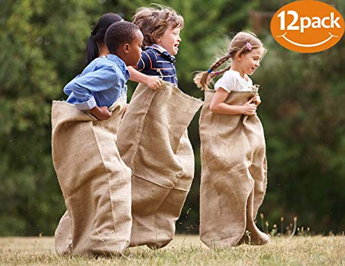 ToysOpoly Premium Burlap Potato Sack Race Bags 24 x 40 (Pack of 12) - of Sturdy Rugged, 100% Natural Eco-Friendly Jute , Perfect Birthday Party Game for Kids & Adults.