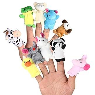 LEORX doigt animaux marionnettes velours doux poupées accessoires jouets Pack de 10 (modèle aléatoire)