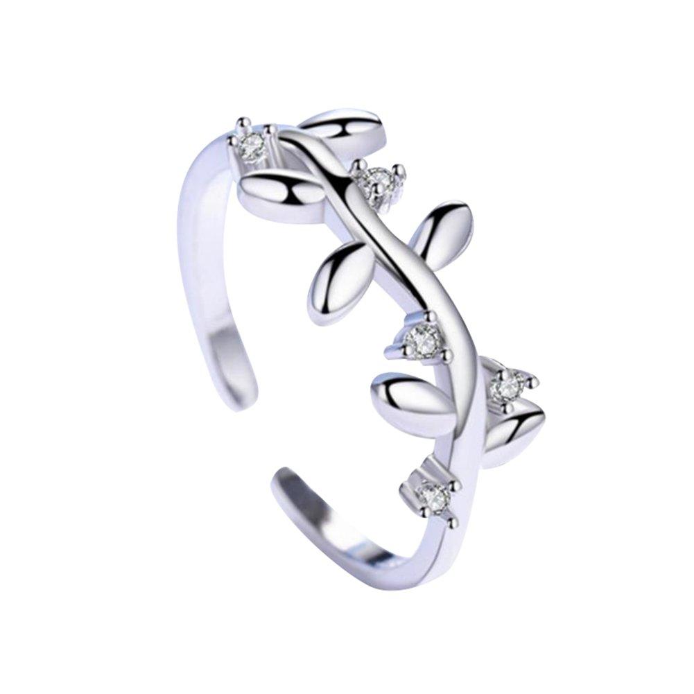 WeiMay Gioielli anello da donna Gioielli Argento Donna Elegante albero regolabile a forma di foglia Anello aperto Gioielli per le Ragazze di barretta Accessor