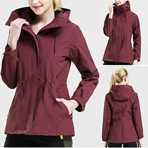 Zhhlinyuan Moda Women's Windbreaker Casual Waterproof Sports Coat Mountaineering Clothing Dark Red