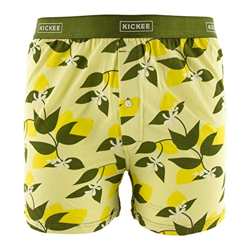 Kickee Pants Men's Print Boxer Short - Lime Blossom Lemon Tree, Large