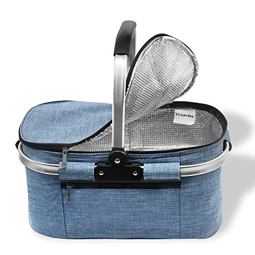 Cosaving Insulated Picnic Basket Foldable Cooler Bag Large Capacity Lunch Basket Insulated Waterproof Lunch Tote for Grocery Outdoor Beach Travel Camping BBQ 30 Liter, Blue