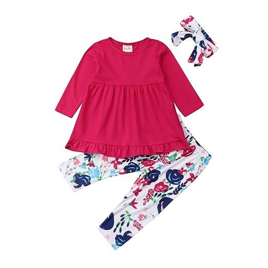 dc96f9360801a Amazon.com: Toddler Kids Girls Ruffles Tunic Dress Tops + Floral ...
