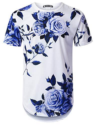 (URBANTOPS Mens Hipster Hip Hop Big Blue Rose Floral Longline T-Shirt White, M)