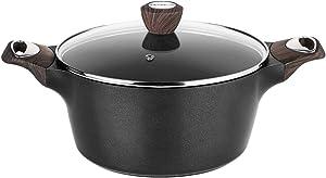 Sensarte Stock Pot Nonstick 4.5 Quart Soup Pot Casserole Pot with Lid Healthy Pasta Pot Cooking Pot Black Sauce Pot with Woodgrain Bakelite Handle, All Stove Compatible Cookware, Easy to Clean