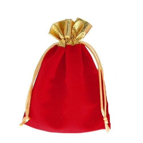 Amazon.com: Conjunto de 4 Terciopelo Rojo Cordón Bolsa de ...