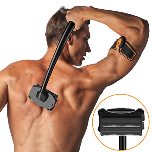 SHINCO Back Shaver [Upgrade 2.0], Body Shaver Back Razor for Men, Back Hair Removal with Double Wet or Dry Used Razor Blades, Long Curved Ergonomic Handle,Pain-Free (Black) ()