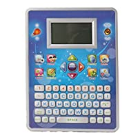 Pasaca Toys Kids Talking Learning Spaceship with LCD Screen with 7 Learning Game, Touch Tablet, Learning ABC, Spelling, Numbers (Blue)