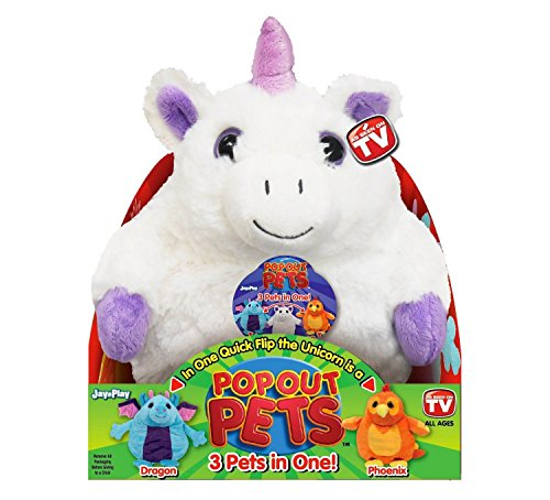Pop Out Pets Fantasy, Reversible Plush Toy, Get 3 Stuffed Animals in One  Unicorn, Dragon & Phoenix, 8 in. (Fennec Fox As A Pet In The Us)