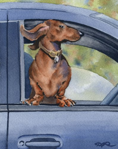 """Dachshund Car Ride"" Art Print Signed by Artist DJ Rogers"