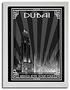 Address Hotel Down Town- Black And White With Silver Border F03-m (a2) - Framed