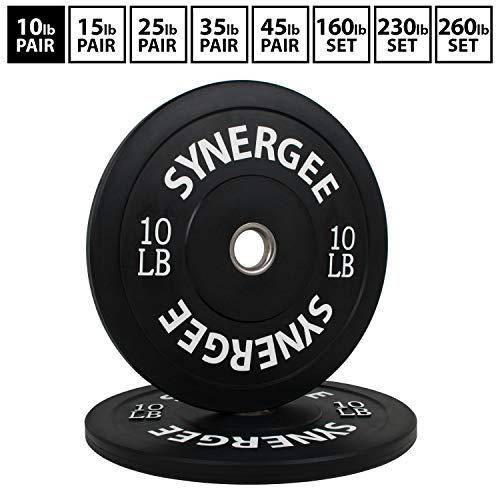 Synergee Bumper Plates Weight Plates Strength Conditioning Workouts Weightlifting 10lbs Pair