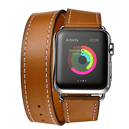 Paddsun FOR Leather Double Tour Apple Watch Band with Adapter Clasp, 38mm, Brown (Lavender Leather Band Watch)
