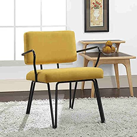 yellow upholstery accent chair this midcentury modern chair features a retro yellow colored fabric
