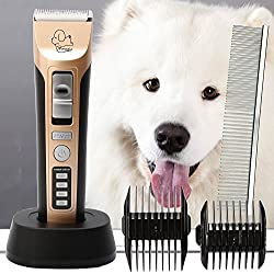 Professional Heavy Duty Pet Grooming Clippers, Pet Grooming Kit for Thick Hair Dogs, Cats and Horses
