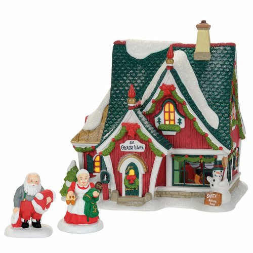 Porcelain Village Set - Department 56 North Pole Home for The Holidays Set Village Accessory, Multicolored