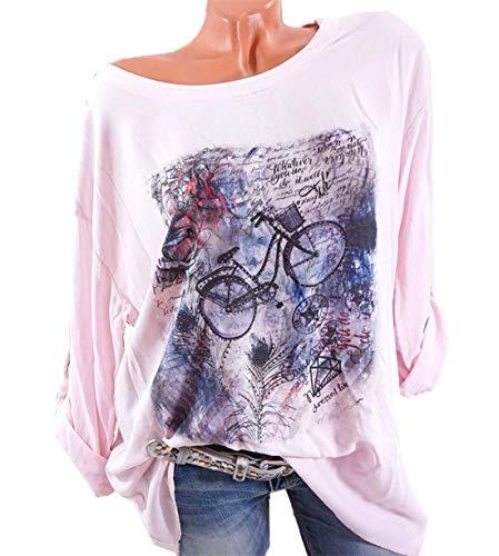 Autunno Primavera Maglietta Donne Tee Lunga Casual Floreali Maglie Cime T Jumpers Moda Monika Tops Bluse Shirt Manica Rotondo Collo Rosa a 5Afa1w