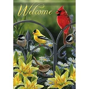 Primavera verano Songbird bienvenida Cardinal Chickadee doble cara bandera de Jardín 13x 18