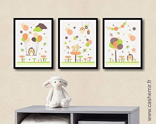 Affiche Enfant Décoration Chambre Bébé Garçon Déco Chambre Enfant  Illustration Murale Chambre Bébé Hérisson écureuil Animaux